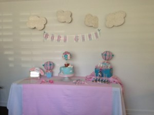 Hot Balloon themed baby shower sweet table
