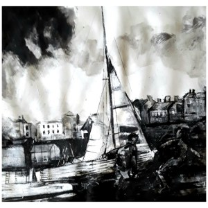 Pearsall, Ian R. (1967 – ) Bringing up the boats (Tenby)