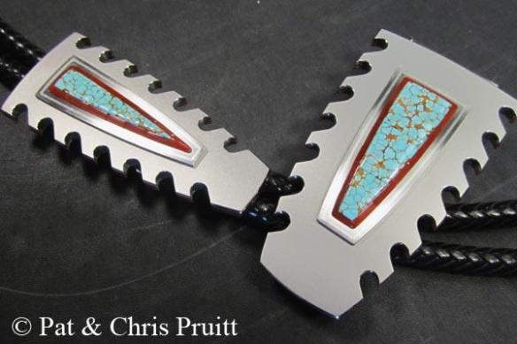 #8 turquoise buckle and bolo set