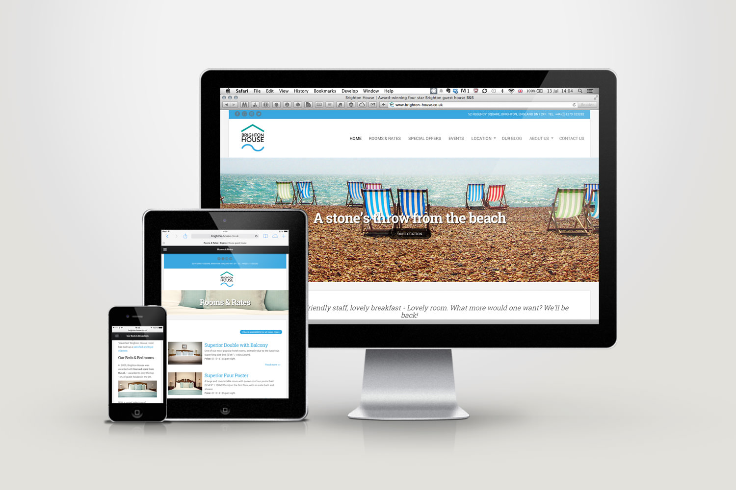 An image of the Brighton House website as displayed on multiple devices – Tribus Creative, web design for small business