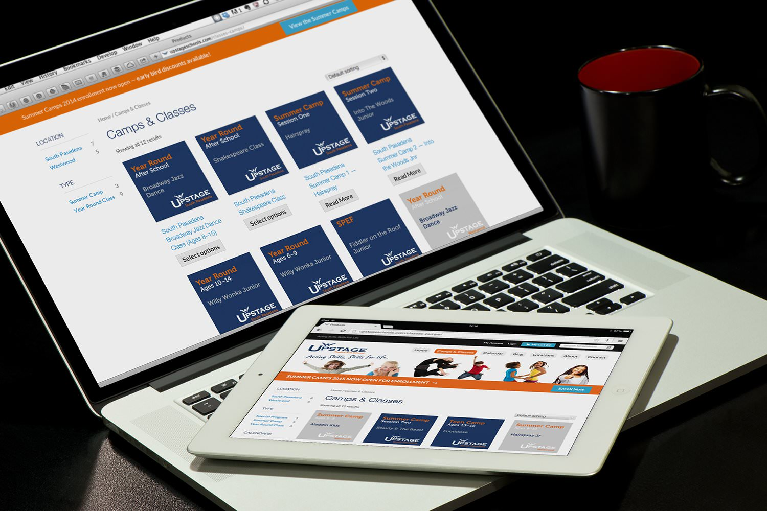 The Upstage website Programs page viewed on a laptop and tablet – Tribus Creative – brand communications for small business