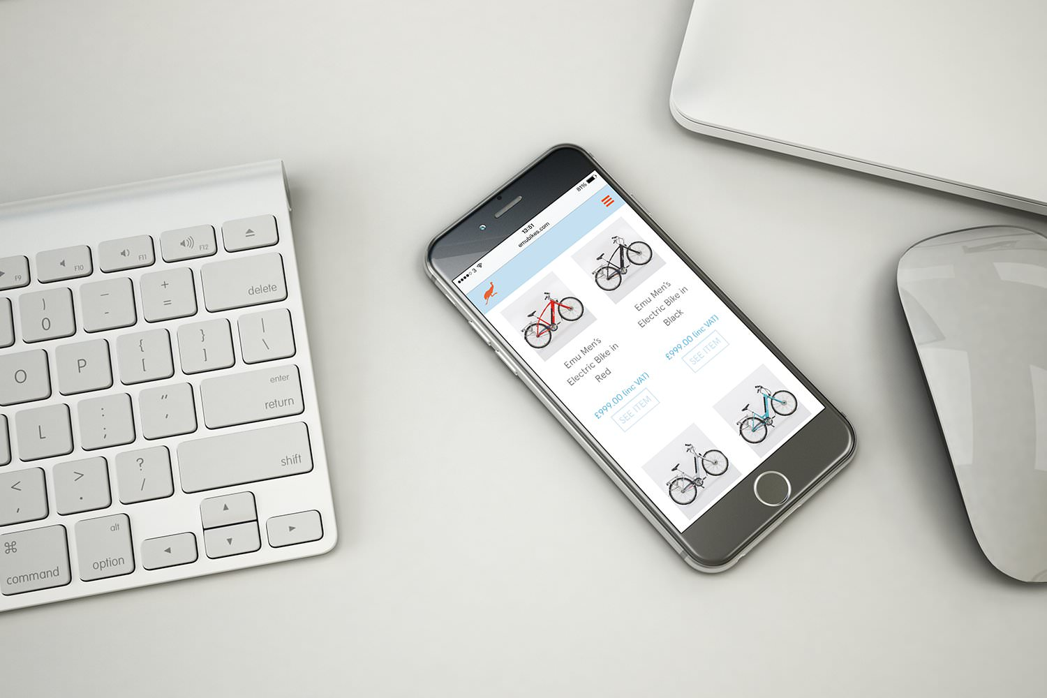 The Emu Bikes e-commerce website design displayed on a smartphone – Tribus Creative – web design for small business