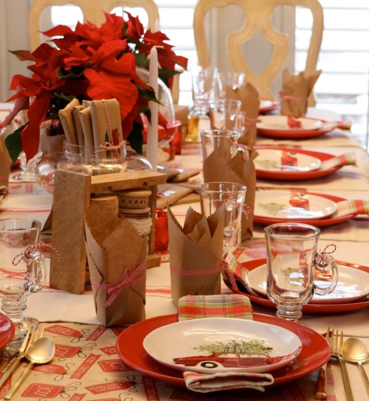 CHRISTMAS TEA PARTY WITH BROWN PAPER PACKAGES TIED UP WITH STRINGS