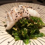 peruvian ceviche and wakame seaweed salad fusion