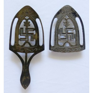 Neat Se Sad Iron Stands Both My Collection Feature A Version A Handle Is Very Neir Stand Is Marked On Front Orback As To Buffum Swastika Stand Trivetology