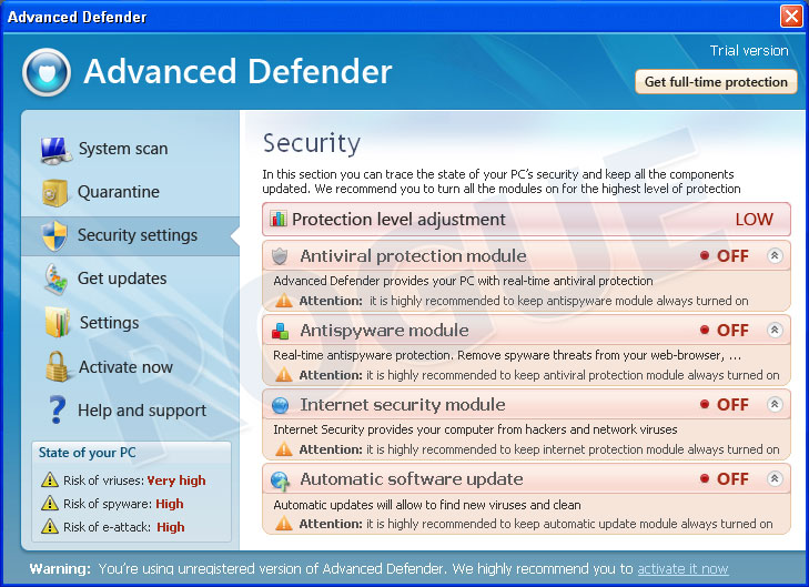 Advanced Defender