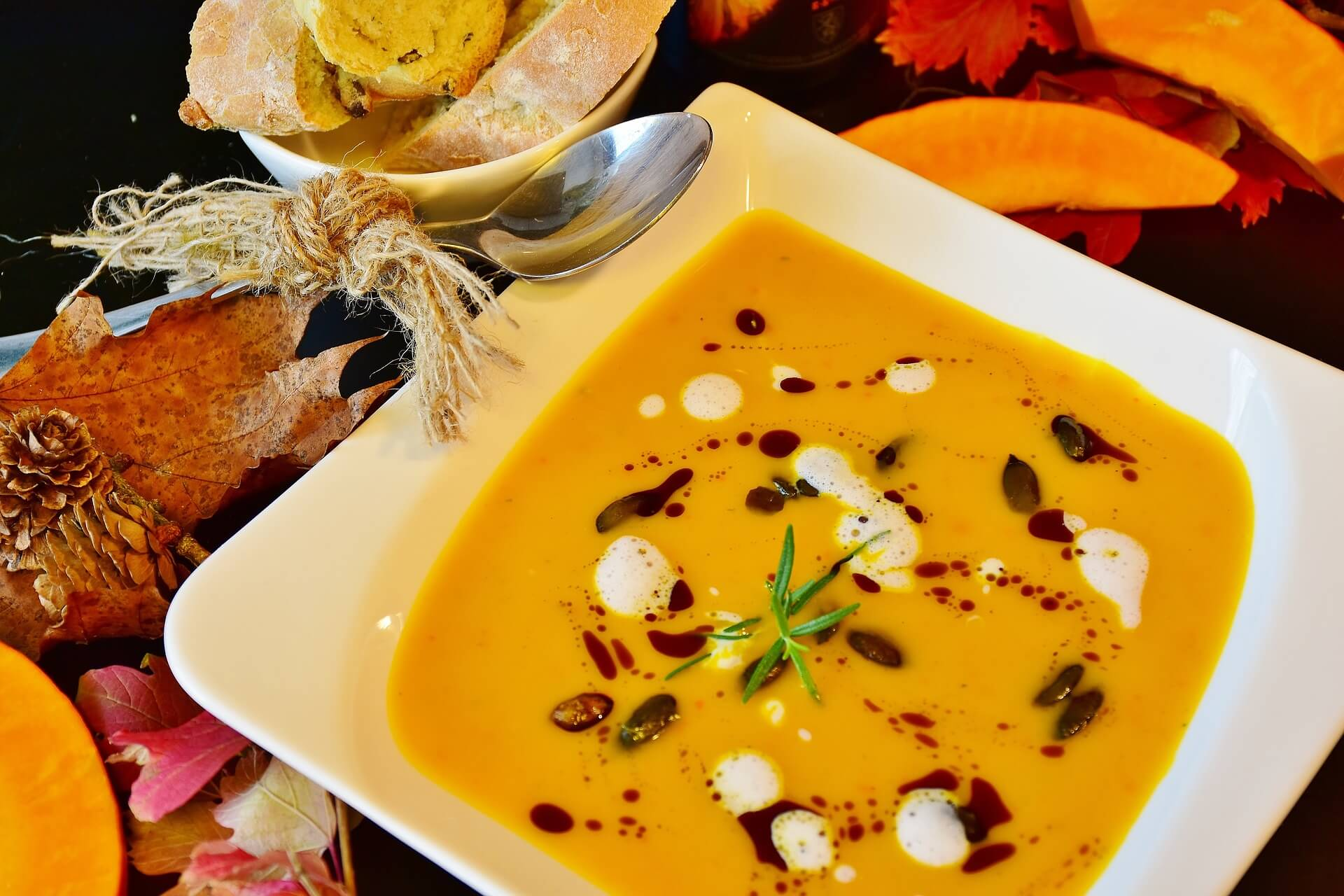 vegetarian food, pumpkin soup
