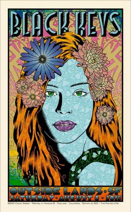 For 2015, Chuck Sperry has produced this 7-color, 21 x 35-inch print for the Black Keys (edition 225).