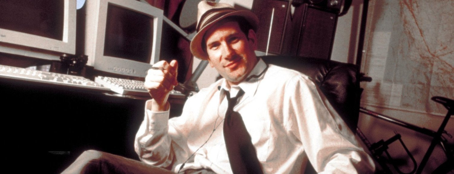 Portrait of Internet celebrity gossip disseminator Matt Drudge wearing Hollywood detective-style fedora as he sits in home office.  (Photo by Amy Etra//Time Life Pictures/Getty Images)