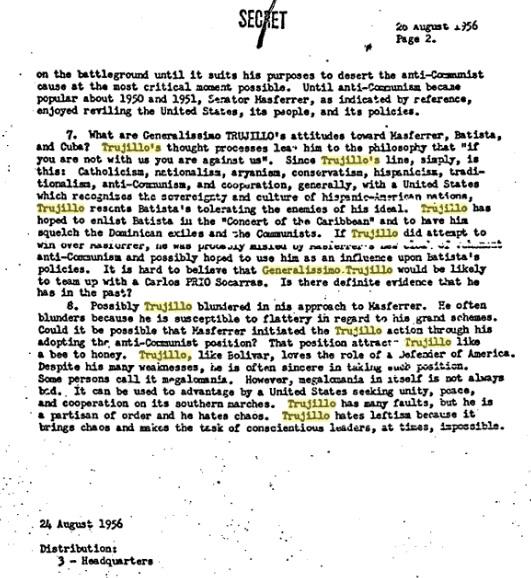 trujllo 1956 personality memo-batista-anti-communism-hates lefty