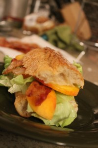 Bacon, Lettuce and Peach Sandwich