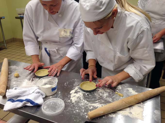 Forming Tarts at Braise Culinary School