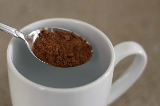 One teaspoon of unprocessed cocoa to equal parts maple syrup makes great hot chocolate base.