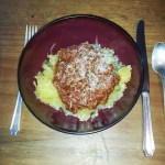Spaghetti squash with meat crumble sauce