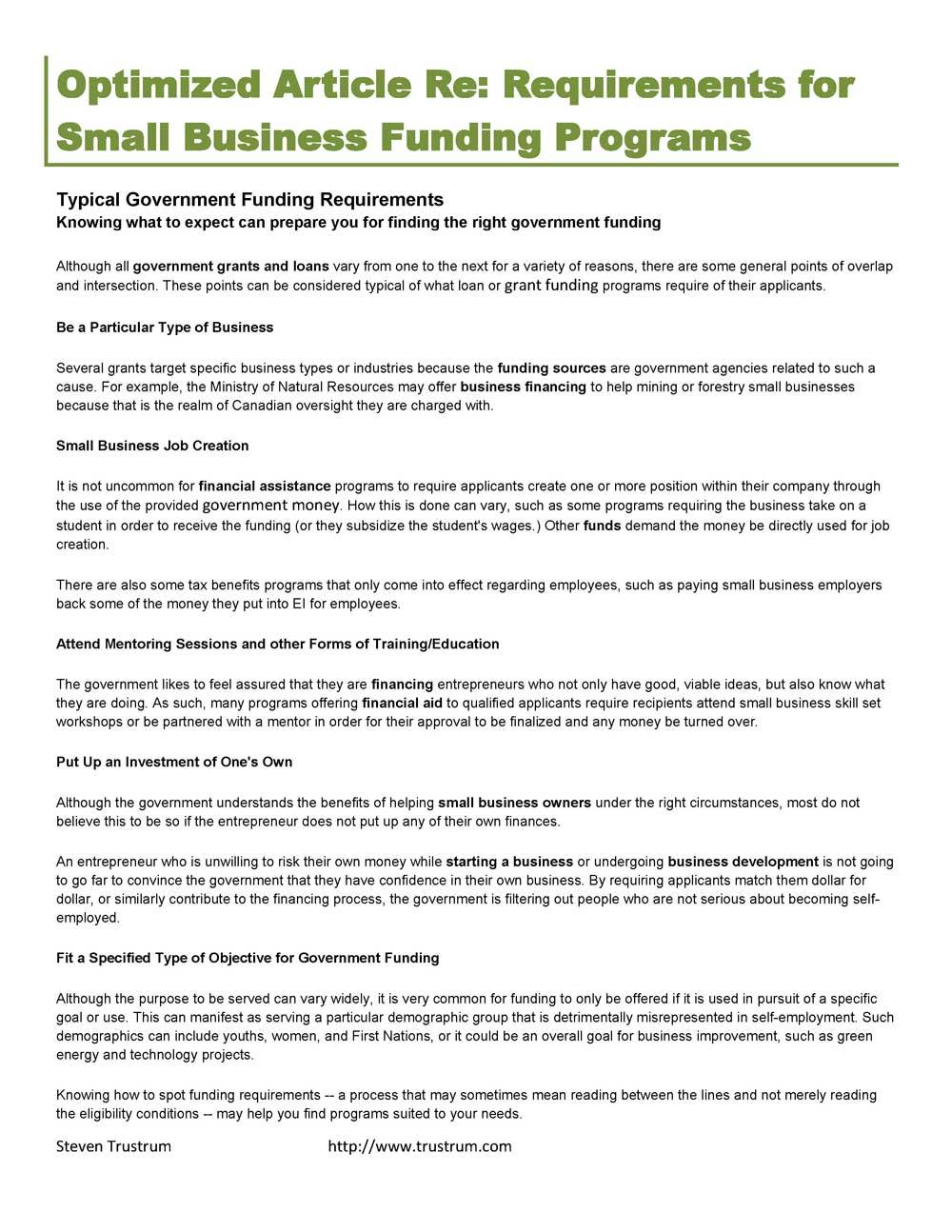 Steven Trustrum Business Funding Article