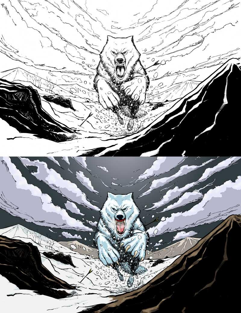 Steven Trustrum Digital Colouring Adequate Commoner Wolf