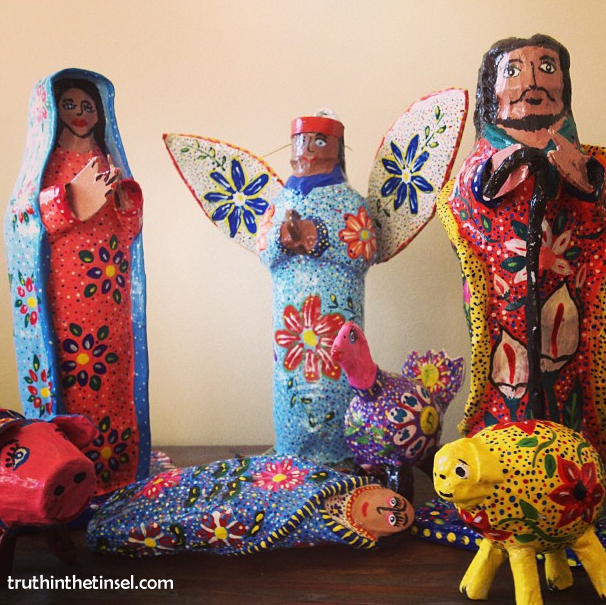 Place Mary & Joseph far away from your nativity scene & have them travel to the manger during December. A fun alternative to the Elf on the Shelf // Nativity Scene handpainted by moms in Jalisco, Mexico // Truthinthetinsel.com