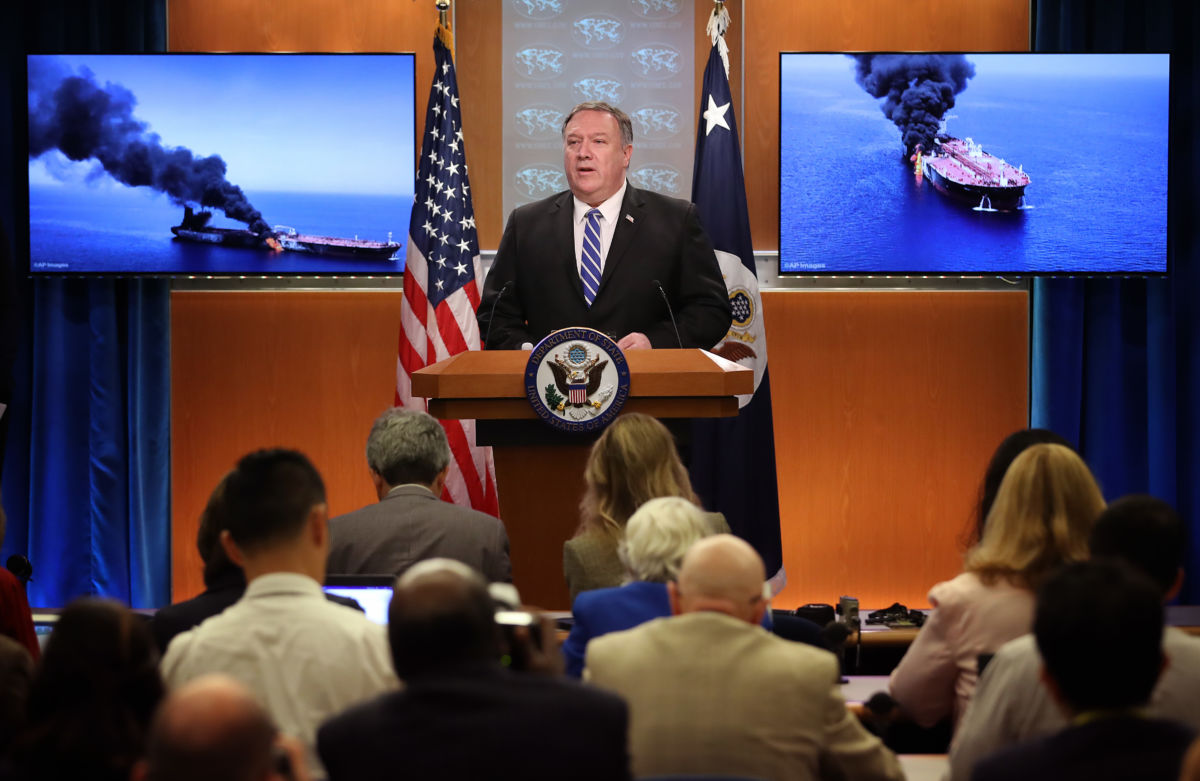 U.S. Secretary of State Mike Pompeo speaks from the State Department briefing room on June 13, 2019, in Washington, D.C.