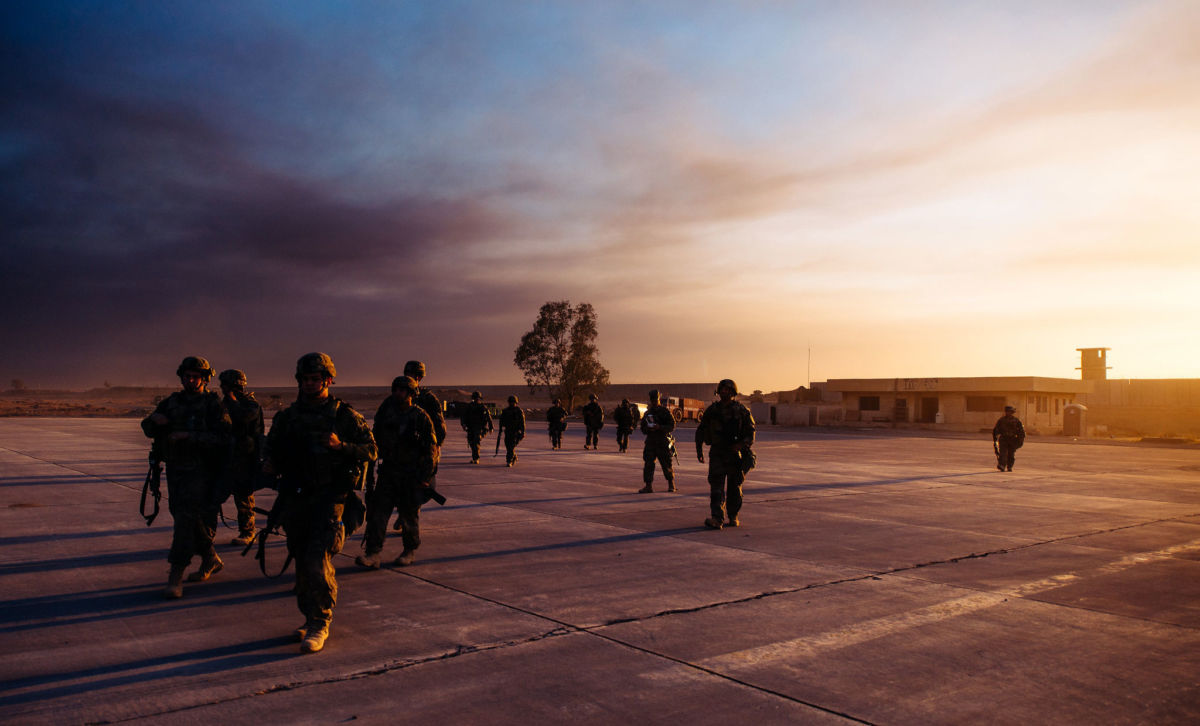 Airmen from the 821st Contingency Response Group at Qayyarah West Airfield, Iraq, on November 19, 2016. Propaganda floated by former Vice President Dick Cheney over a decade ago to justify his push for war against Iran has been revived by the Trump administration.
