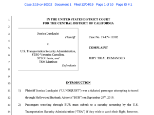 Jessica Lundquist's TSA Lawsuit
