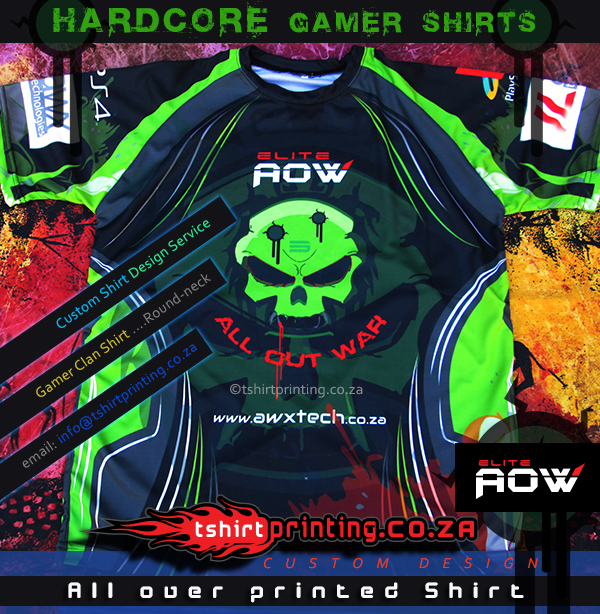 HARDCORE-GAMER-SHIRT-ALL-OUT-WAR-ELITE-AOW, all over printed gamer shirt, gamer apparel , online gamer shirt,cool gamer shirt idea,skull shirt,wicked shirt