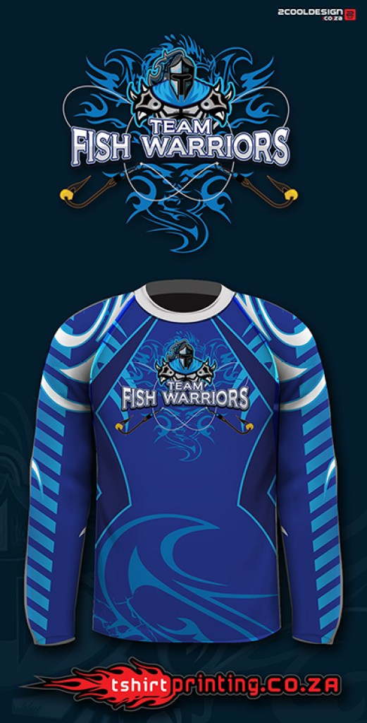 cool fishing shirt logo, team fish warriors