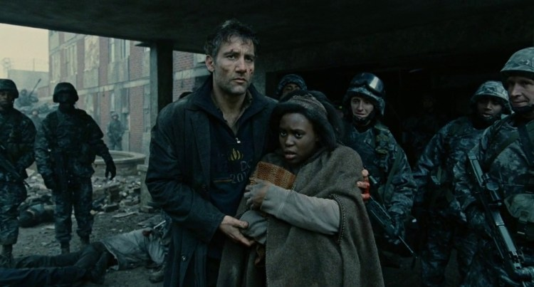 Clive Owen and Clare-Hope Ashitey in dystopian film Children of Men