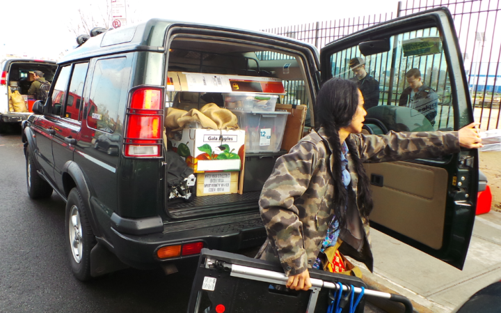 Smartly, Teresa parks her car early early in the morning near the Smorgasburg site so she can easily move  her goods in.