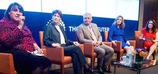 """Trading on Diversity"" panel on Oct. 28, 2014.  Joe Keefe, center and Lauren Young far right. Photo: Thomson Reuters)"