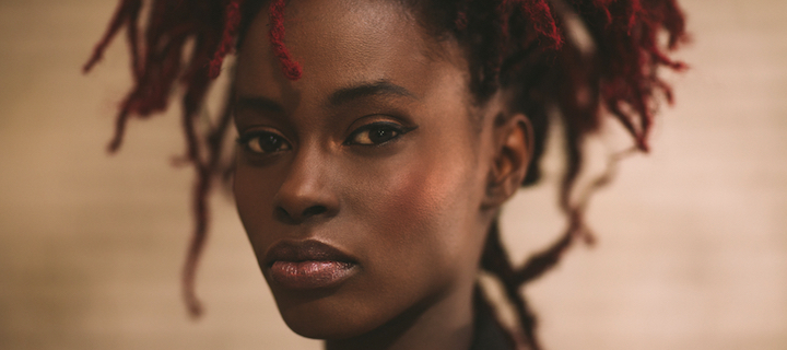Indoor fashion shot of a beautiful young African woman with dreadlocks.