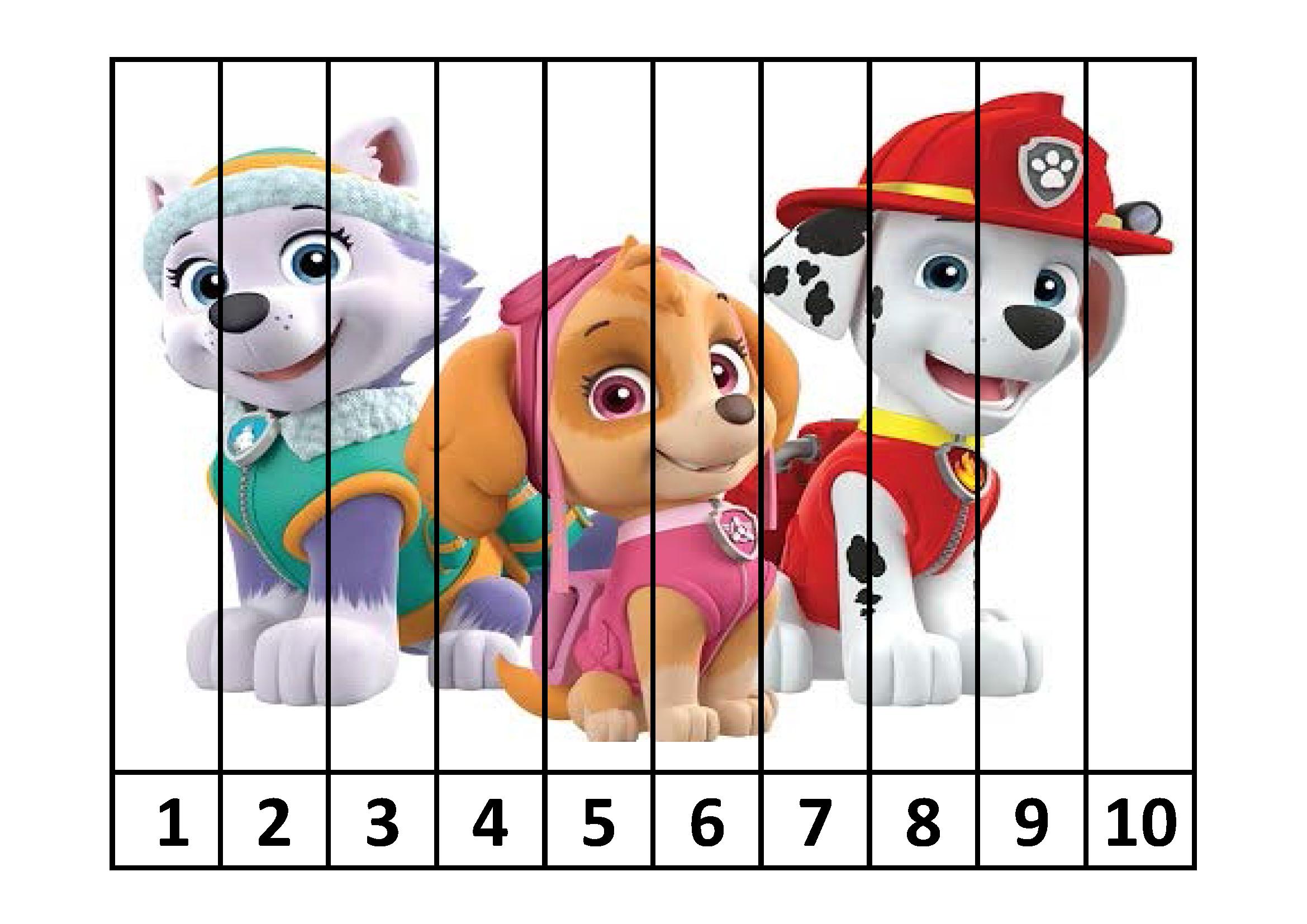 Puzzles num ricos de la patrulla canina t me aprendes - Manualidades patrulla canina ...