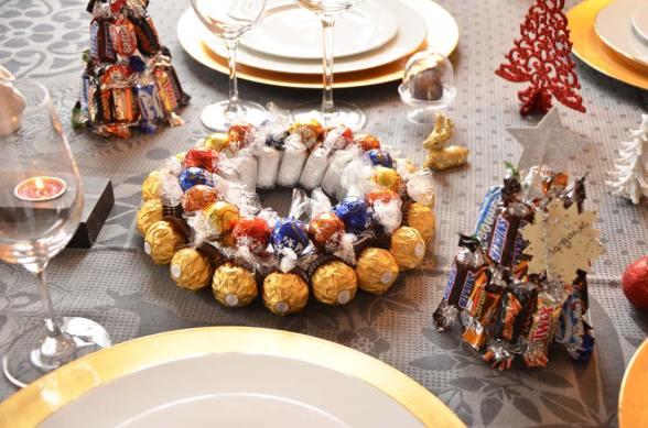 Centre de table et marque-places en chocolat {DIY de Noël}
