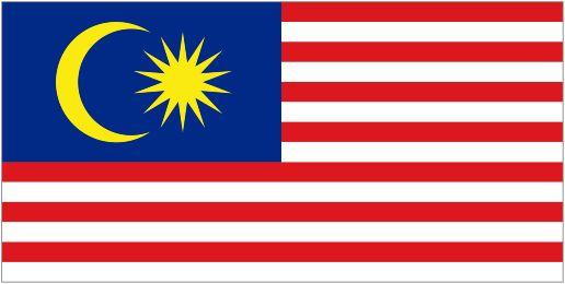 Флаг Малайзии - В верхнем левом углу находится синий прямоугольник, который украшен золотистым полумесяцем и сияющей золотой звездой с 14 лучами