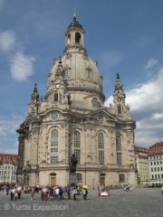 The Lutheran Frauenkirche (1738) was destroyed in WW II and painstakingly restored only after the unification of Germany.