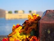 Offering at The Water Temple, Jaipur