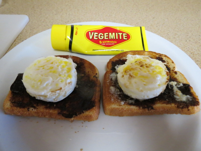 Eggs on Vegemite Toast - my favorite breakfast!