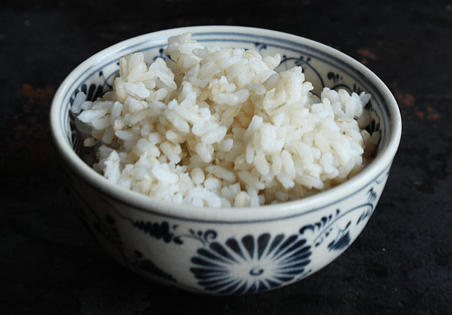 short-grain beige rice cooked