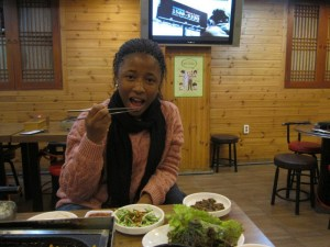 Chanel eating Korean food (1)