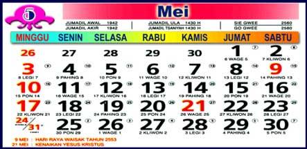 Kalender Mei 2009