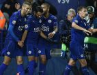 Leicester City's Algerian midfielder Riyad Mahrez (2L) celebrates with Leicester City's Algerian striker Islam Slimani (L) after scoring his team's first goal during the UEFA Champions League group G football match between Leicester City and FC Copenhagen at the King Power Stadium in Leicester, central England on October 18, 2016. / AFP / OLI SCARFF        (Photo credit should read OLI SCARFF/AFP/Getty Images)