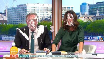 Piers Morgan gets pied in the face amid baby carrier debate | BT