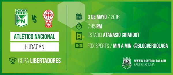 Atlético Nacional vs Huracán en Vivo por Fox Sports Copa Libertadores 2016