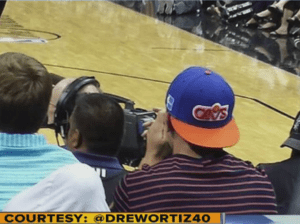 "Johnny Manziel, representing ""Cleveland"" with Cavs hat on in San Antonio, for Game 2 of the NBA Finals!"