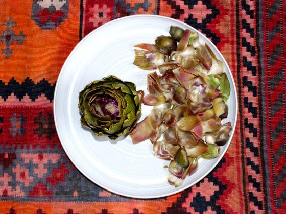 artichoke, inner leaves on plate