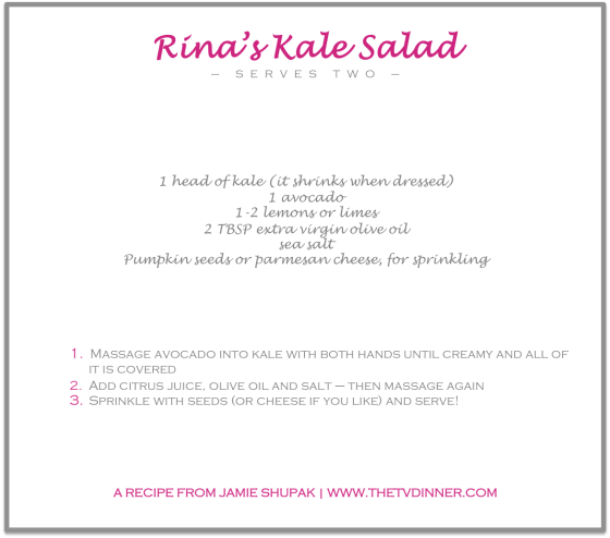RECIPE rina's kale salad