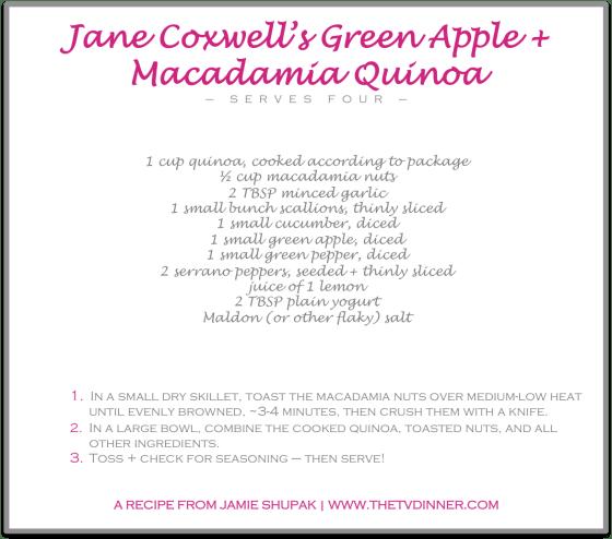 RECIPE jane's green apple quinoa