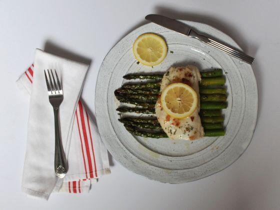 cod over asparagus