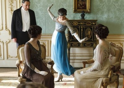 Lady Sybil shows off her blue harem pants on Downton Abbey