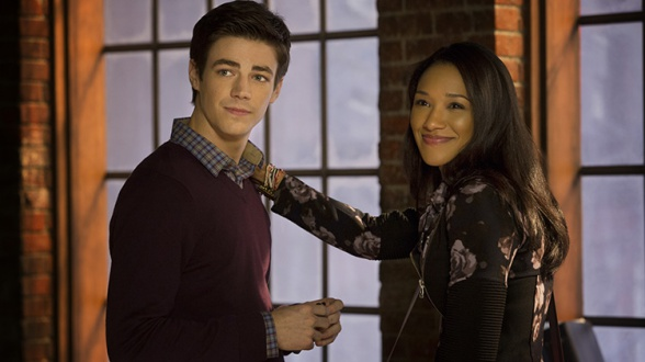 Barry Allen (Grant Gustin) and Iris West (Candice Patton) in The Flash pilot.