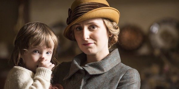 Lady Edith holds her daughter Marigold on Downton Abbey